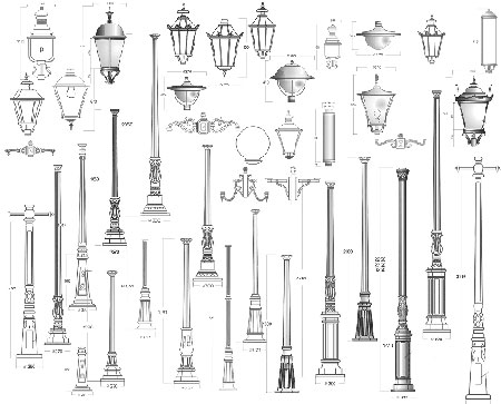Traditionelle guss masten historische guss laternen for Lampen zeichnen