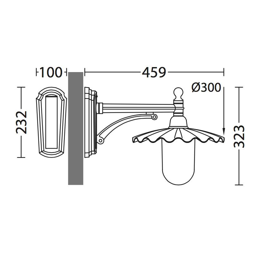 italienische au en wandlampe mit plissiertem schirm terra lumi. Black Bedroom Furniture Sets. Home Design Ideas