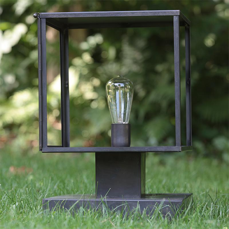Chateau Pedestal Lantern Nickel: Art Déco Outdoor Pedestal Light Vitrine