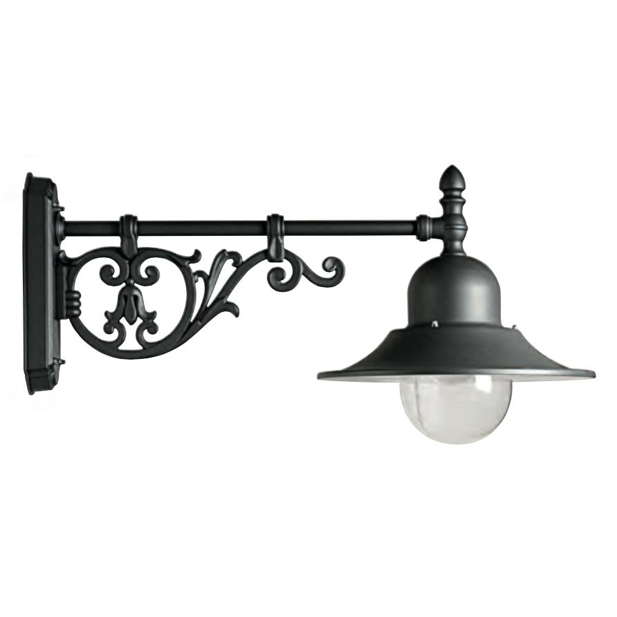 italienische au en wandlampe mit historischem wandarm. Black Bedroom Furniture Sets. Home Design Ideas