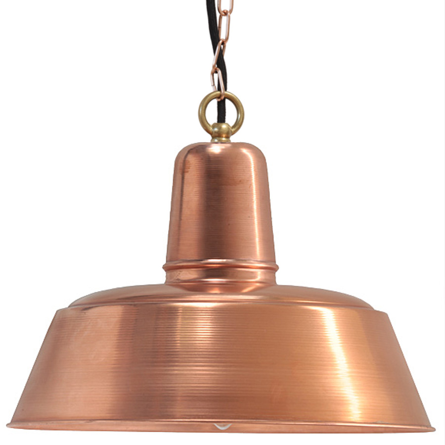 timeless lighting. Image 1: Das Modell In Kupfer Roh Ist Dem Natürlichen Altern überlassen. Hier Mit Kettenaufhängung Und Ring. Timeless Industrial Copper Pendant Light Lighting