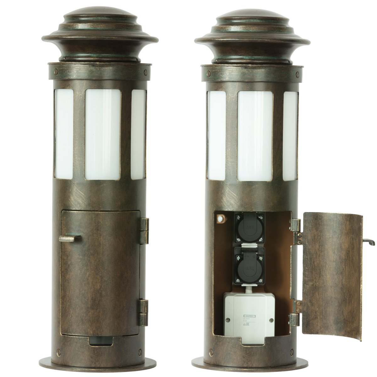 Small Wrought Iron Bollard Light Al 6636 A Terra Lumi