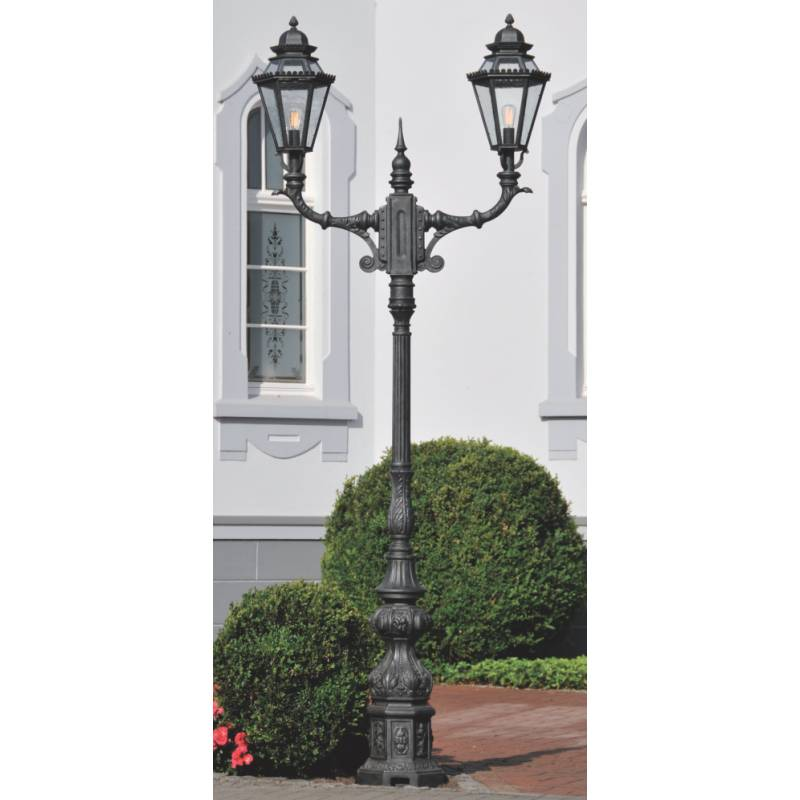 Representative wrought iron post light al 67206721 terra lumi image 1 zweiflammige schmiedeeiserne standleuchte al 6721 eisen natur representative wrought iron post light mozeypictures Choice Image