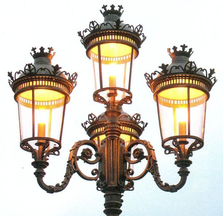 stately five lantern wrought iron post light al 6718. Black Bedroom Furniture Sets. Home Design Ideas