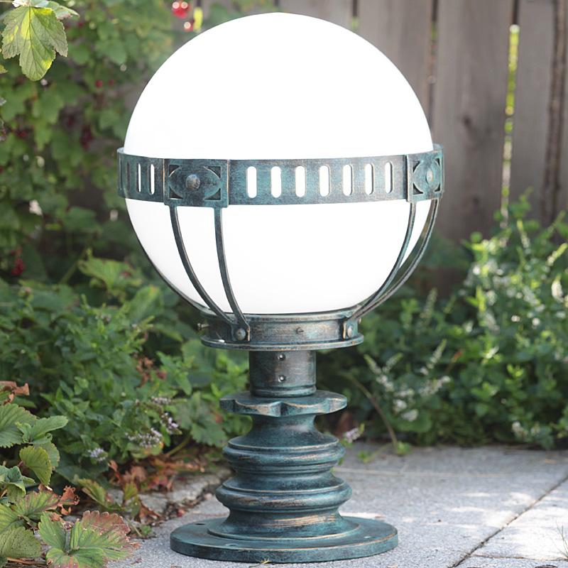 Chateau Pedestal Lantern Nickel: Handmade Wrought Iron Pedestal Light AL 6604