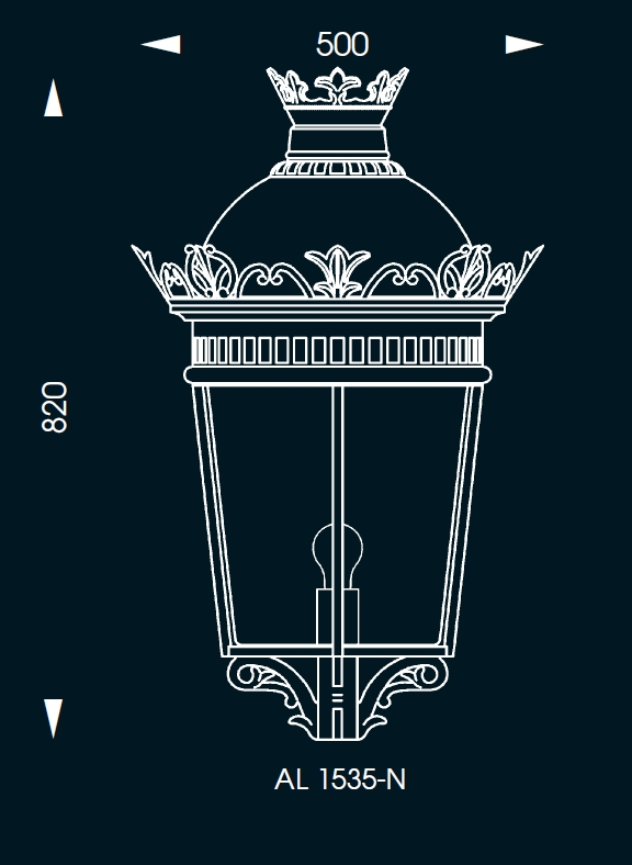 empire style wrought iron post light al 6563 terra lumi. Black Bedroom Furniture Sets. Home Design Ideas