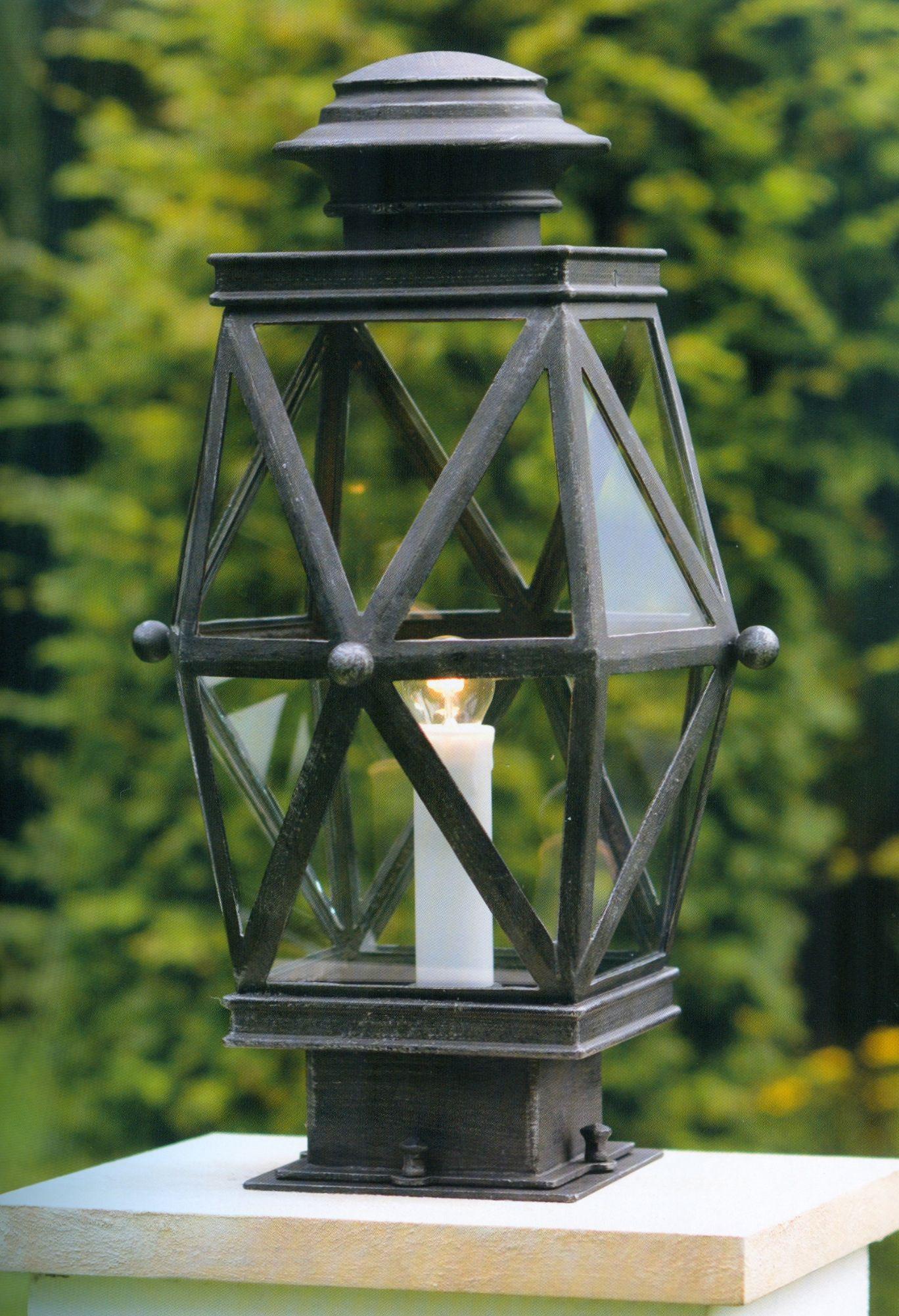 Image 1 Deutsche Mauerleuchte aus Schmiedeeisen AL 6801 Eisen-Natur. Traditional German Pedestal Light ... & Traditional German Pedestal Light AL 6801 - Terra Lumi