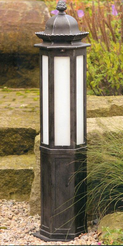hand forged bollard light with opal glass al 6696 terra lumi. Black Bedroom Furniture Sets. Home Design Ideas