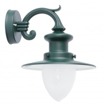 Small Factory-style Wall Lamp for Outdoor Use with Pointed Cylinder Glass